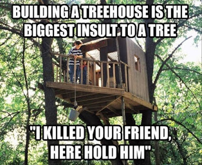 "Building a treehouse is the biggest insult to a tree. ""I killed your friend, here hold him"""