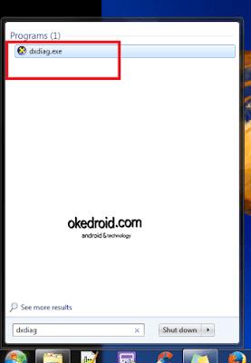 Mencari program dxdiag , di Start Menu Windows 7 PC Komputer Laptop