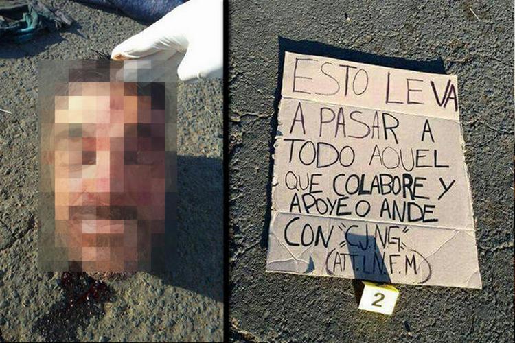 """Fotos, """"A todo aquel que apoye al CJNG"""", LNFM deja cuerpo desmembrado y advertencia al CJNG en Michoacán."""