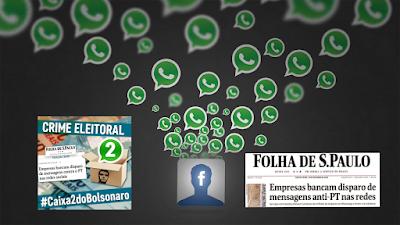 Montagem gráfica com denúncia do esquema de WhatsApp contra PT