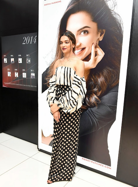 Deepika Padukone in Pair of Polka Dotted Palazzos At the Tissot Event