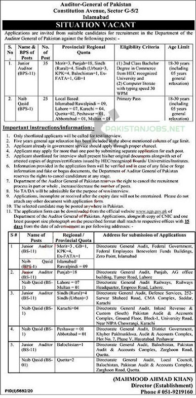 Auditor General of Pakistan Jobs April 2021 Latest