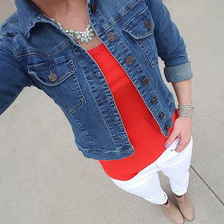 white denim, denim jacket, bright red top, booties, casual outfit