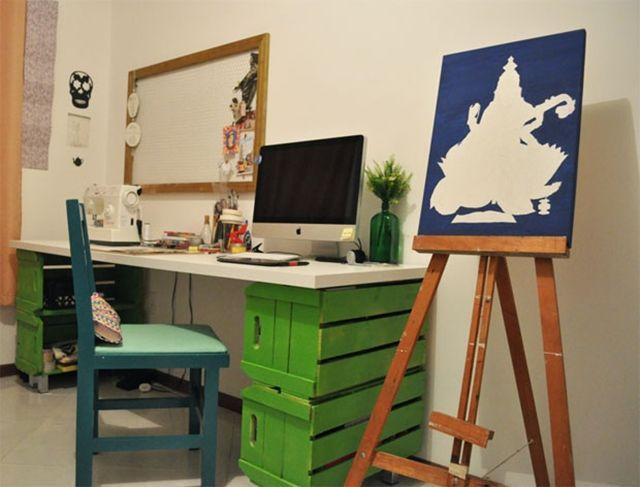 reutilizar caixotes de madeira base escrivaninha escritorio home office