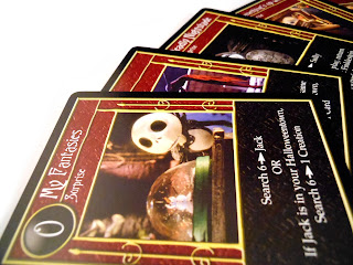 """Surprised, aren't you?"" A selection of cards from The Nightmare Before Christmas TCG."