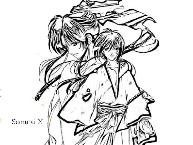 dibujos de samurai x para colorear