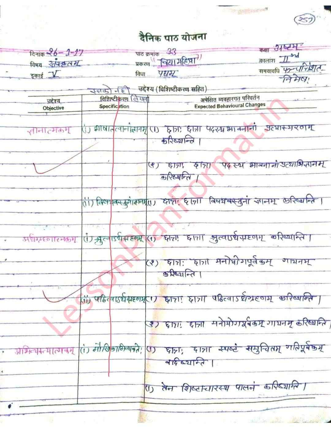 Sanskrit Lesson Plan Class 8 | B. Ed