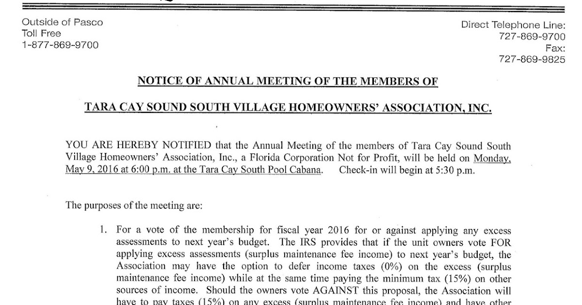 Tara Cay Sound South Village Tcss  Notice  Agenda Of Annual