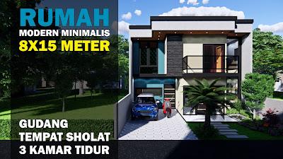 desain rumah 8x15 modern minimalis 2 lantai