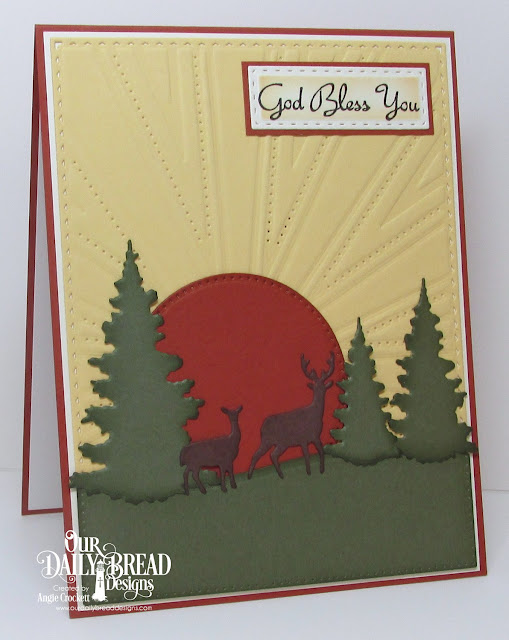 ODBD 'Rose', ODBD Custom Trees & Deer Dies, ODBD Custom Curvy Slopes Dies, ODBD Custom Sunburst Background Dies, ODBD Custom Pierced Circles Dies, ODBD Custom Pierced Rectangles Dies, ODBD Custom Double Stitched Rectangles Dies, Card Designer Angie Crockett