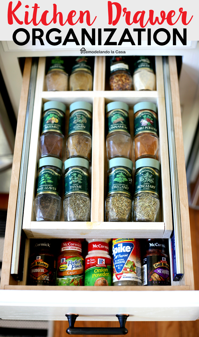 how to build a double drawer - McCornick spices organized in a double drawer.