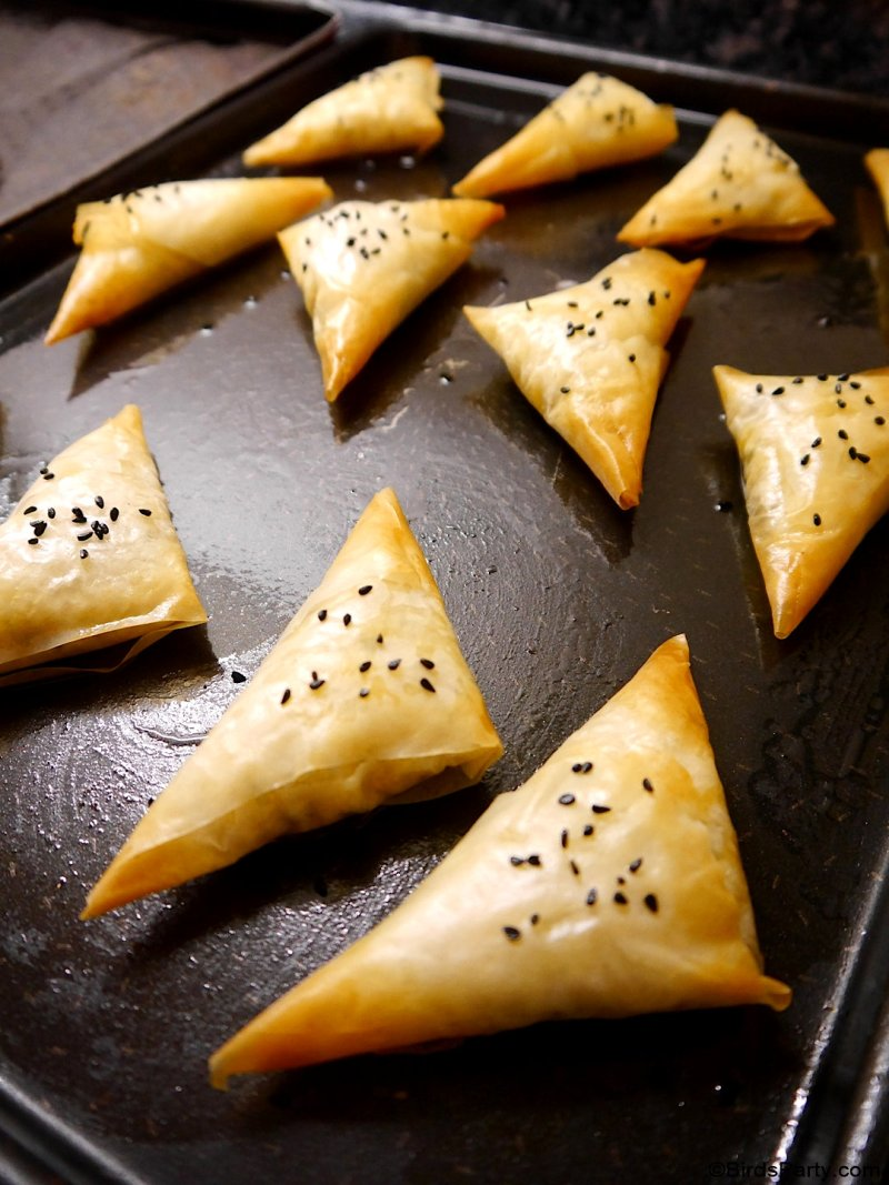Feta Cheese and Sweet Potato Filo Pastry Samosas - quick, easy vegetarian appetizers perfect for any celebration or finger food for the holidays! by BirdsParty.com @birdsparty #appetizers #feta #sweetpotato #fallfood #fingerfood #vegetarianappetizer #samosa #recipe #appetizer
