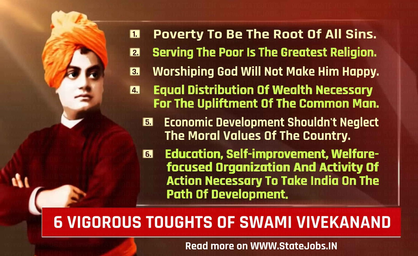 6 vigorous thoughts of Swami Vivekanand on the Religion, God and his Country