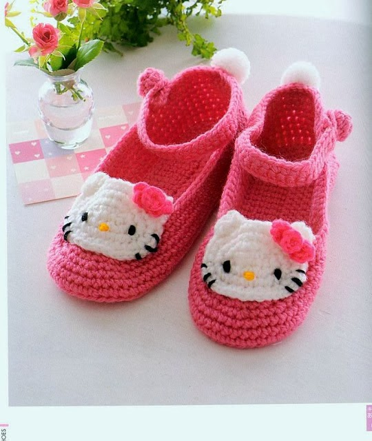 Como hacer Zapatillas de Crochet de la Hello Kitty Patron