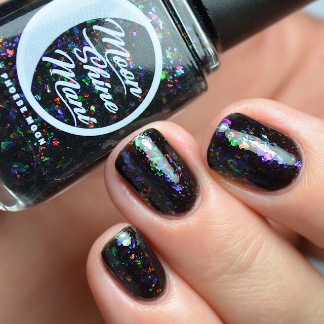 black jelly nail polish with flakies