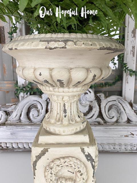 distressed chippy shabby French urn planter