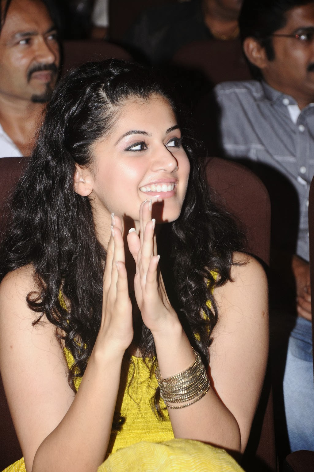 Tapsee Smiling Teeths Stills In Yellow Dress