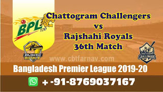 Today Match Prediction Rajshahi vs Chattogram BPL T20 36th Match 100% Sure