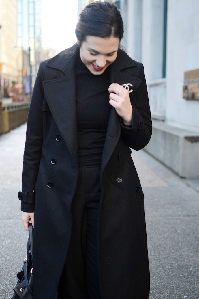 Le Chateau wool coat Chanel brooch minimalist style Vancouver blogger winter outfit idea