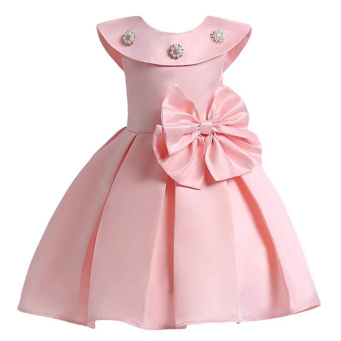 Wish Littlle Sofyana Row Silk Peach Baby Girl Dresses Kids Frocks 1-2years