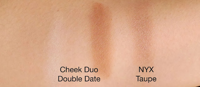 NYX Cheek Contour Duo Palette in Double Dare vs NYX Taupe swatches