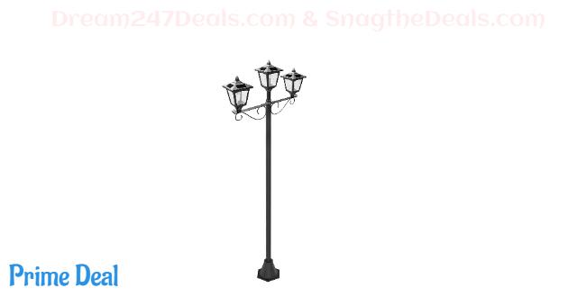 "Upgrade Solar Powered 72"" Triple-Head Street Vintage Outdoor Garden Solar Lamp Post Light Lawn"