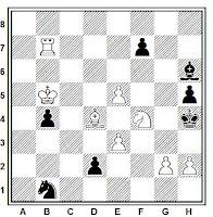 Estudio artístico de ajedrez de A. P. Kazantzev, Olympiad, 1964.
