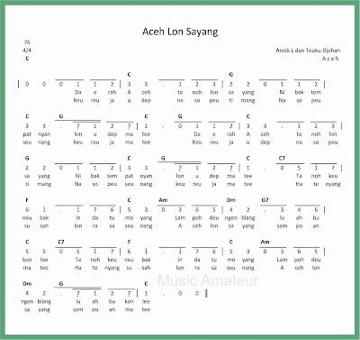 not angka lagu aceh lon sayang