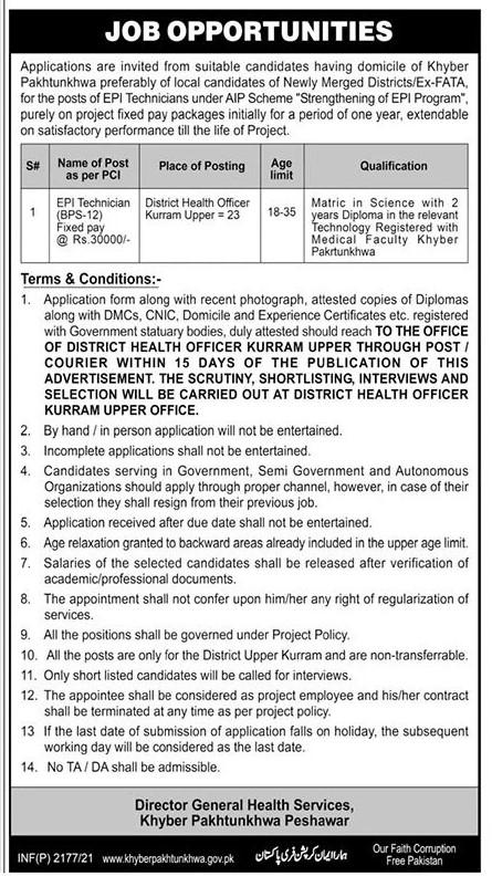 KPK Health Department Jobs 2021 in Pakistan