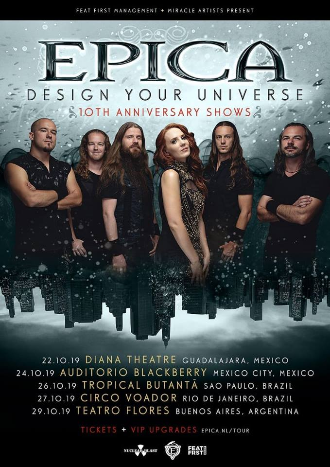 "Epica: Banda desembarca no Brasil com a ""Design Your Universe – 10th Anniversary Tour 2019"""