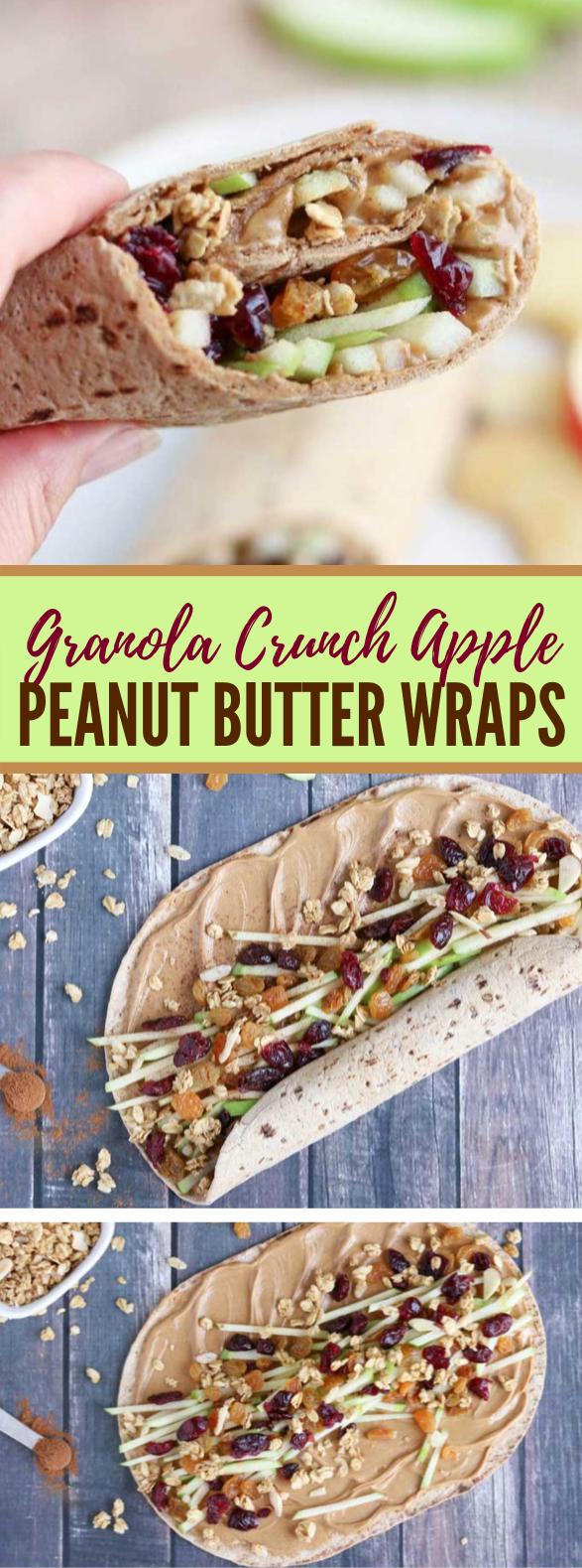 Granola Crunch Apple-Peanut Butter Sandwich Wraps #healthy #lunch