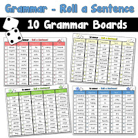 Grammar Roll A Sentence Game Boards