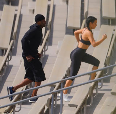 4 - Kim Kardashian undergoes grueling workout with personal trainer in LA Stadium to tone her body
