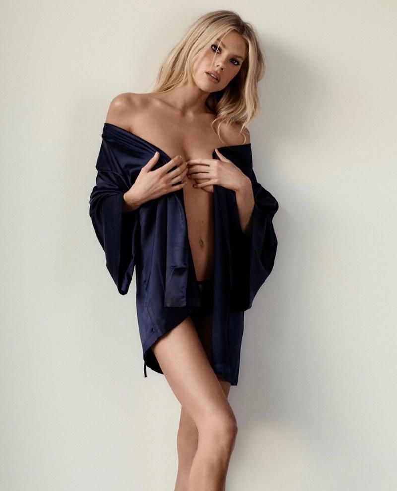 Charlotte McKinney poses in La Senza satin robe.