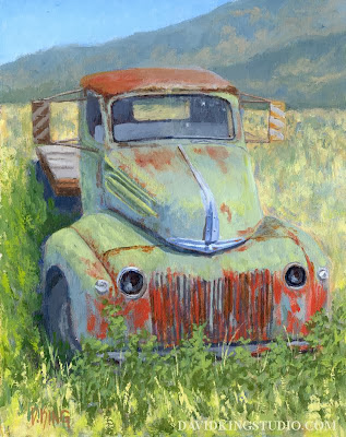 art painting truck abandoned rusty Ford flatbed ranch