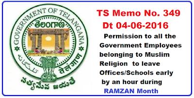 TS Ramzan Festival-One Hour Permission to Muslim Employees TS Rc 349
