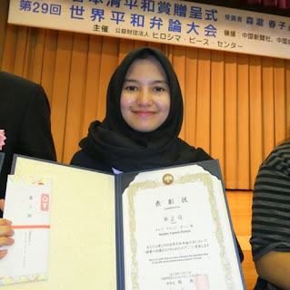 Runner up 29th Annual World Peace Speech Contest in Japan
