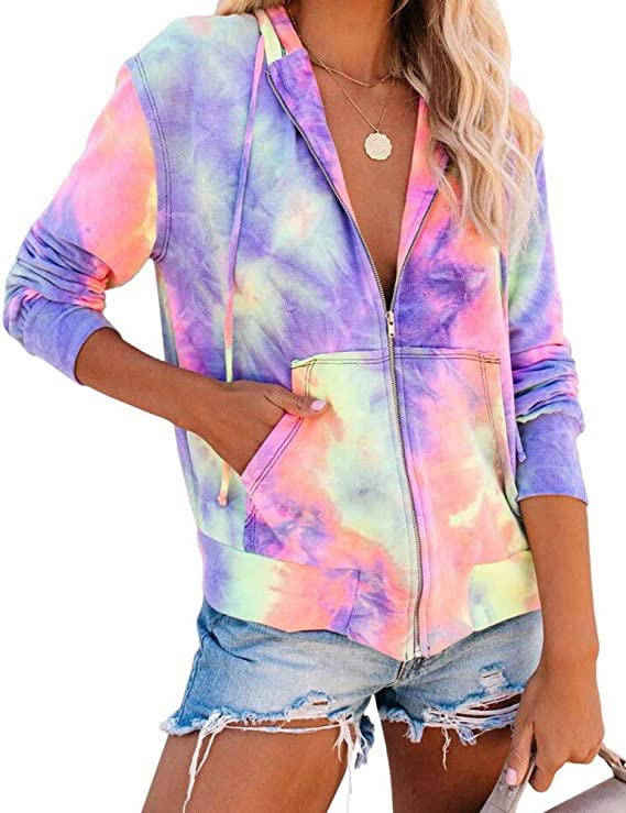30%OFF  REVETRO Women Tie Dye Zip-Up Jacket