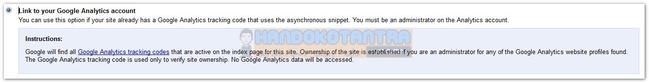 Verifikasi menggunakan Google Analytics