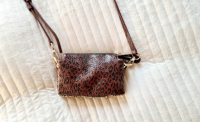 Whistles Hatton burgundy leopard leather cross body bag