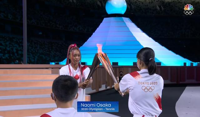 Tokyo 2021 Olympics Opening Ceremony torch flame passing Naomi Osaka