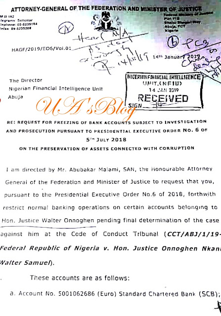 BREAKING: CUPP releases AGF's letter directing freezing of CJN Onnoghen's accounts, vows more revelations
