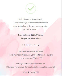 scarlett whitening body care verifikasi produk