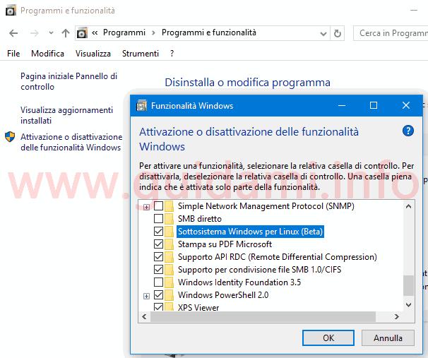 Attivare sottositema Linux in Windows 10