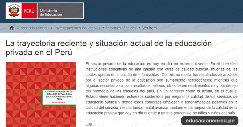 MINEDU: La trayectoria reciente y situación actual de la educación privada en el Perú (.PDF) www.minedu.gob.pe