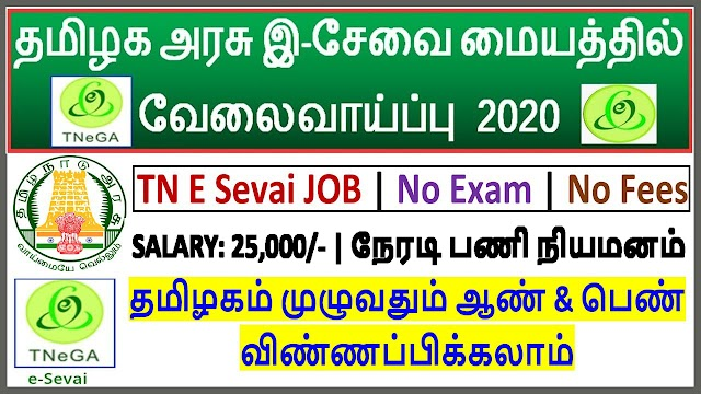 தமிழக அரசு இ சேவை மையத்தில் வேலைவாய்ப்பு | Tamilnadu E Sevai Recruitment 2020 | E Sevai Mayam Job