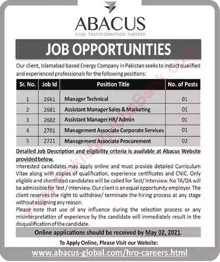 New Jobs in Pakistan ABACUS Pakistan Jobs 2021 | Apply Online