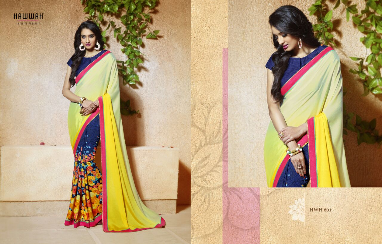 hawwah-Amazing Designer Collection Of Banglori Silk Printed  Sarees  Online