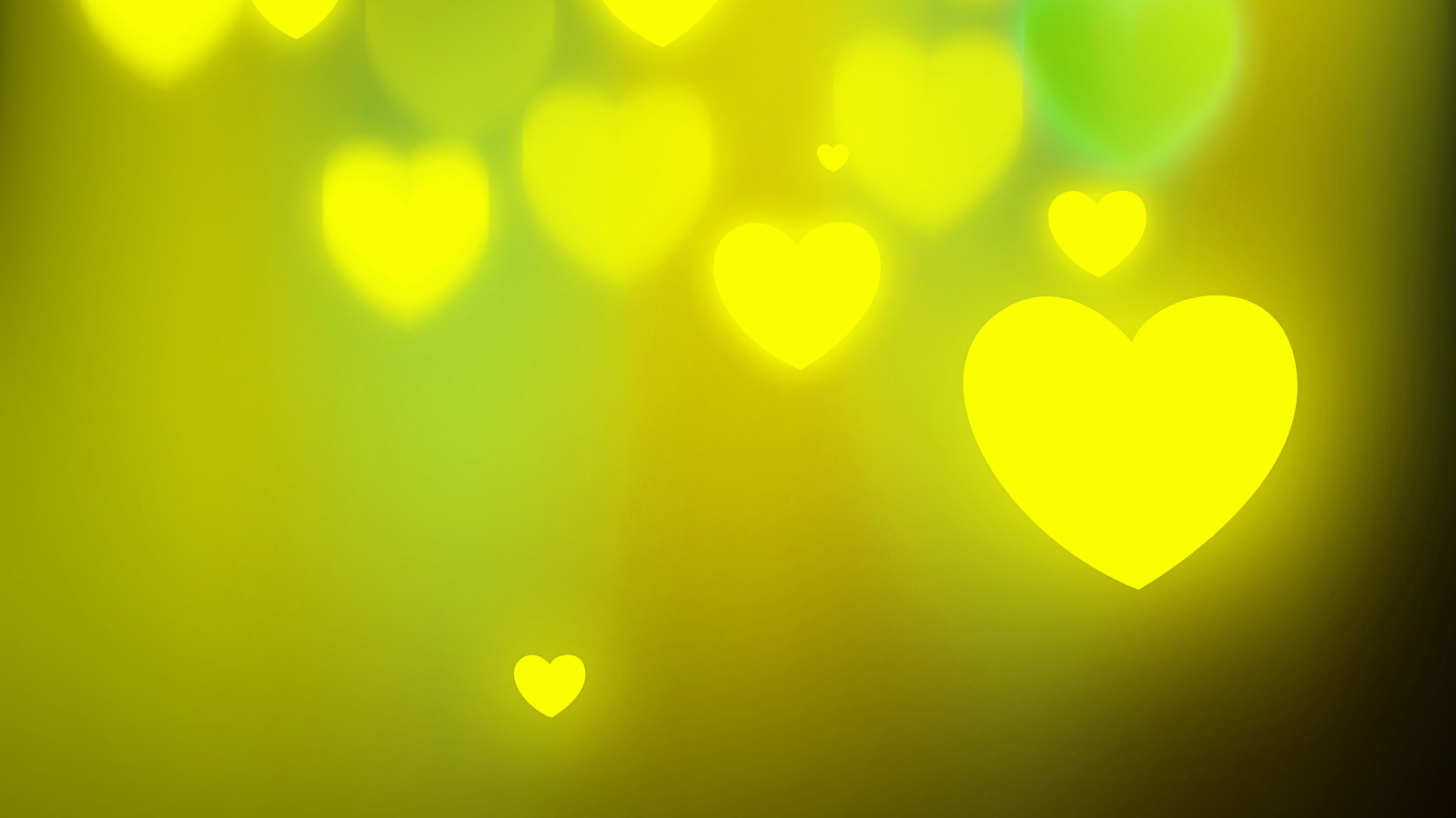 Free Glowing Hearts Yellow Green Background