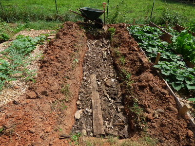 Creating a hugelkultur bed to retain rain runoff.